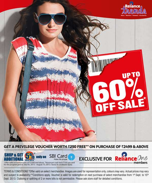 Reliance Trends Upto 60 Off Sale Deals Sales Offers
