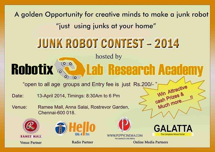 in Chennai, Junk Robot Contest 2014, Robotics Event, 13 April 2014