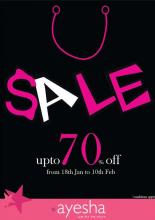 Ayesha Accessories Sale - Avail upto 70% off from 18 January to 10 February 2013. Ayesha's biggest SALE is ON!!! Avail upto 70% off on your fav accessories.