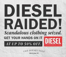 Get your hands on some funky Diesel merchandise at up to 50% off