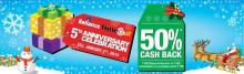 Reliance Timeout 5th Anniversary Celebration - 50% Cash Back from 8 December 2012 to 7 January 2013. 50% CASHBACK OFFER! Get Rs. 250 discount voucher on every purchase of Rs. 500, Redeemable on purchases of Rs. 750