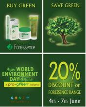 Buy any product from The Natures Co Foressence Range and avail flat 20 per cent discount. The offer is valid from 4th June - 7th June 2012