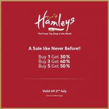 A sale like never before at Hamleys!  Buy 1 Get 30%  Buy 3 Get 40%  Buy 5 Get 50%  Valid till 2nd July 2017